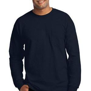 Gildan 2410-Ultra Cotton ® 100% Cotton Long Sleeve T Shirt with Pocket